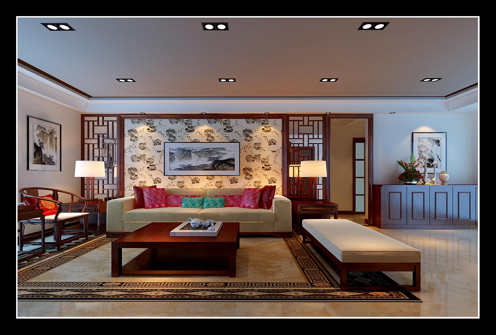 【盛世华城】吉总新中式客厅沙发背景图片